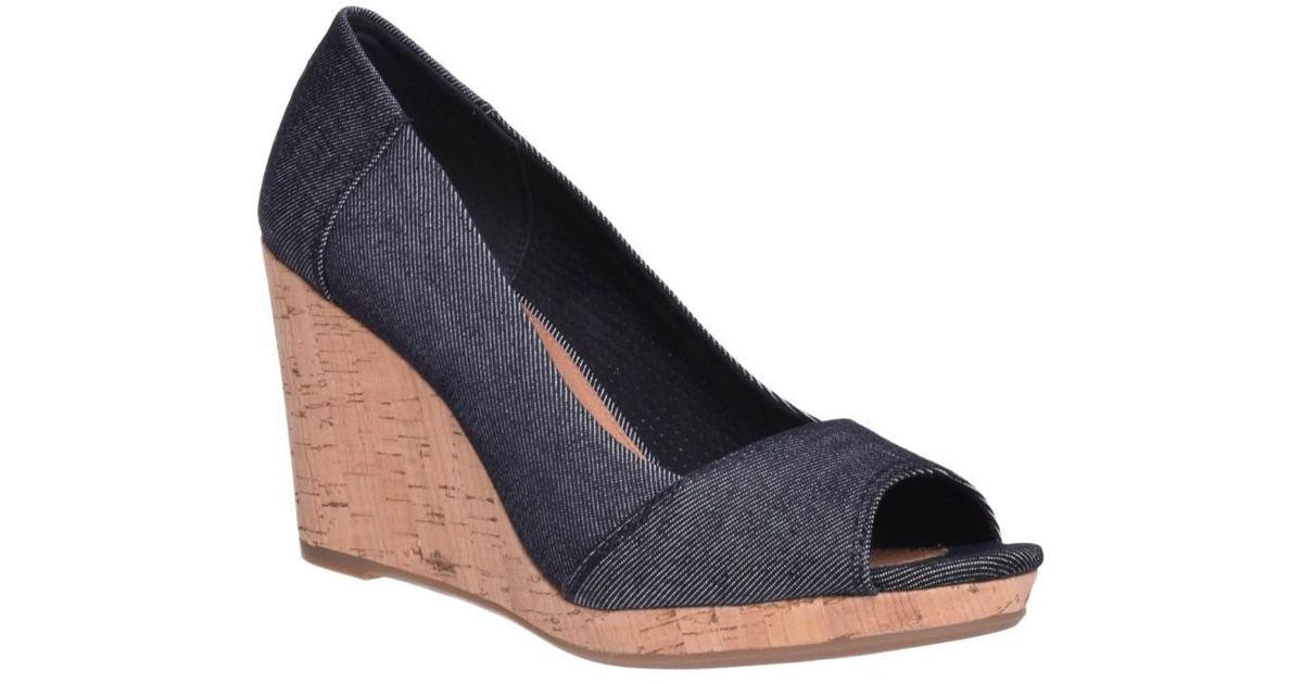 826cab3529d Lyst - TOMS Stella Wedge Open Toe High Wedge in Blue