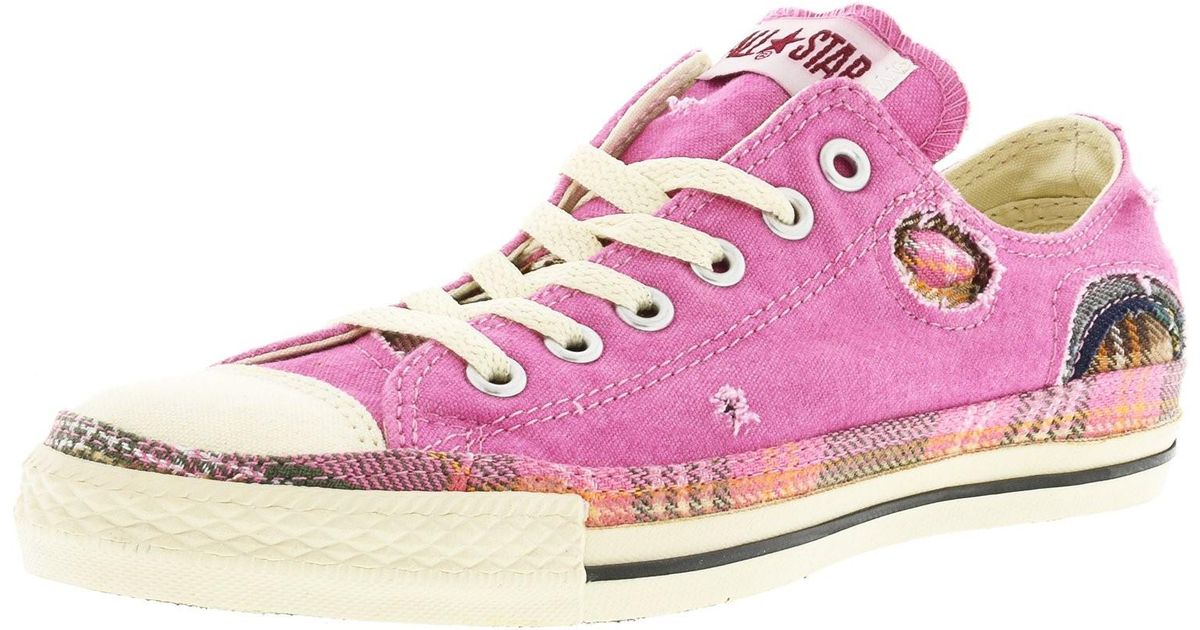 07c46919db9c Lyst - Converse Chuck Taylor Patchwork Ox Pink   Parchment Ankle-high  Canvas Fashion Sneaker in Pink