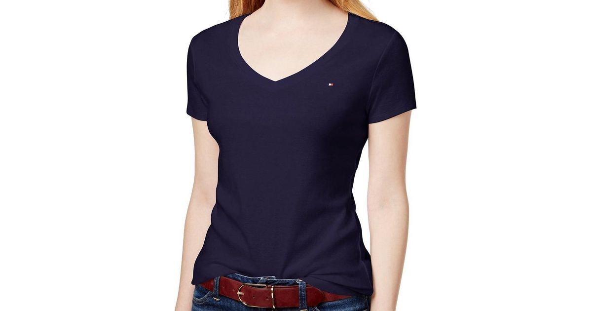 5cad0bb39 Lyst - Tommy Hilfiger Womens Cotton V-neck T-shirt in Blue
