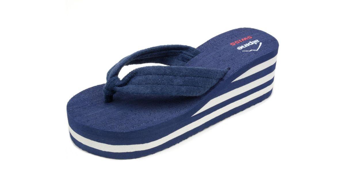 d4c0fc31d Lyst - Alpine Swiss Womens Flip Flops Sandal Soft Terrycloth Thongs  Platform Wedge Heel in Blue