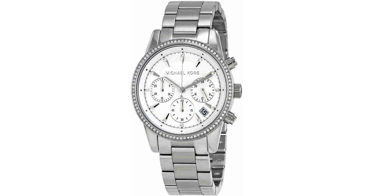 28f5732e860e Lyst - Michael Kors Ritz Chronograph White Dial Ladies Watch Mk6428 in  Metallic for Men