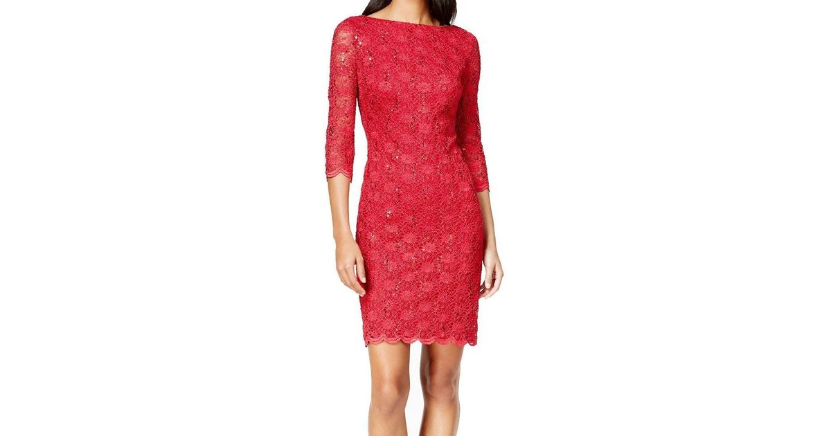 2c229c179d2 Lyst - Calvin Klein Red Lace Skirt Size 10p Petite Sheath Dress in Red