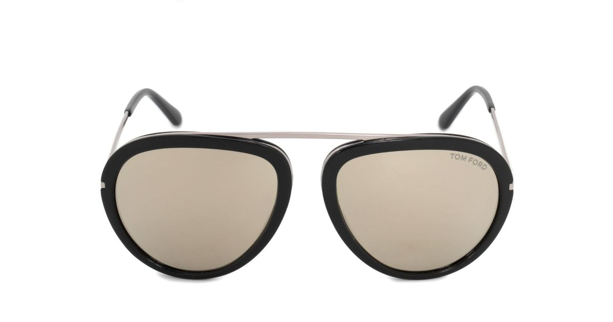 6ba12fd765bfc Tom Ford Sunglasses Ft 0452 Stacy 01c Shiny   Smoke Mirror in Black - Save  57% - Lyst