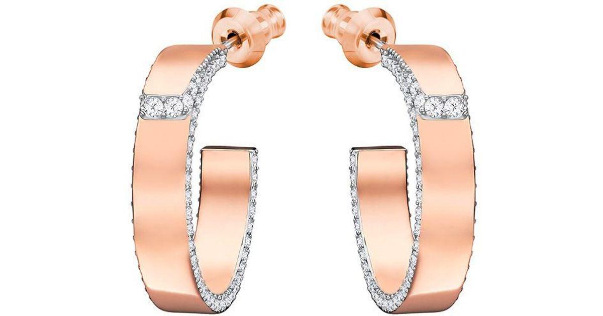 961edc75f Swarovski Lakeside Pierced Earrings - White - Rose Gold Plating - 5387647  in White - Lyst