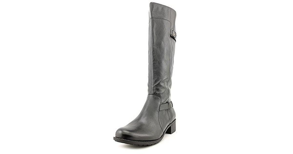 c72e20a962e Lyst - Easy Spirit Labarca Round Toe Leather Knee High Boot in Black