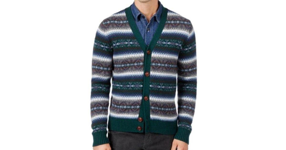 ec163e32990b Lyst - Tommy Hilfiger Green Mens Size Large L Fair Isle Cardigan Sweater  for Men