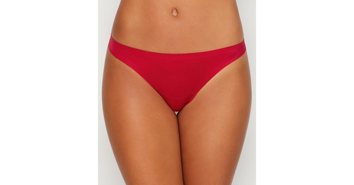 16403225b Lyst - Maidenform Comfort Devotion Thong in Red