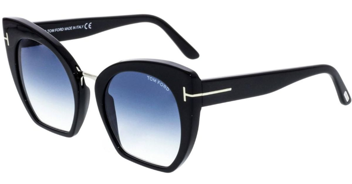 51500eefb441e Lyst - Tom Ford Gradient Samantha Ft0553-01w-55 Black Cat Eye Sunglasses in  Black