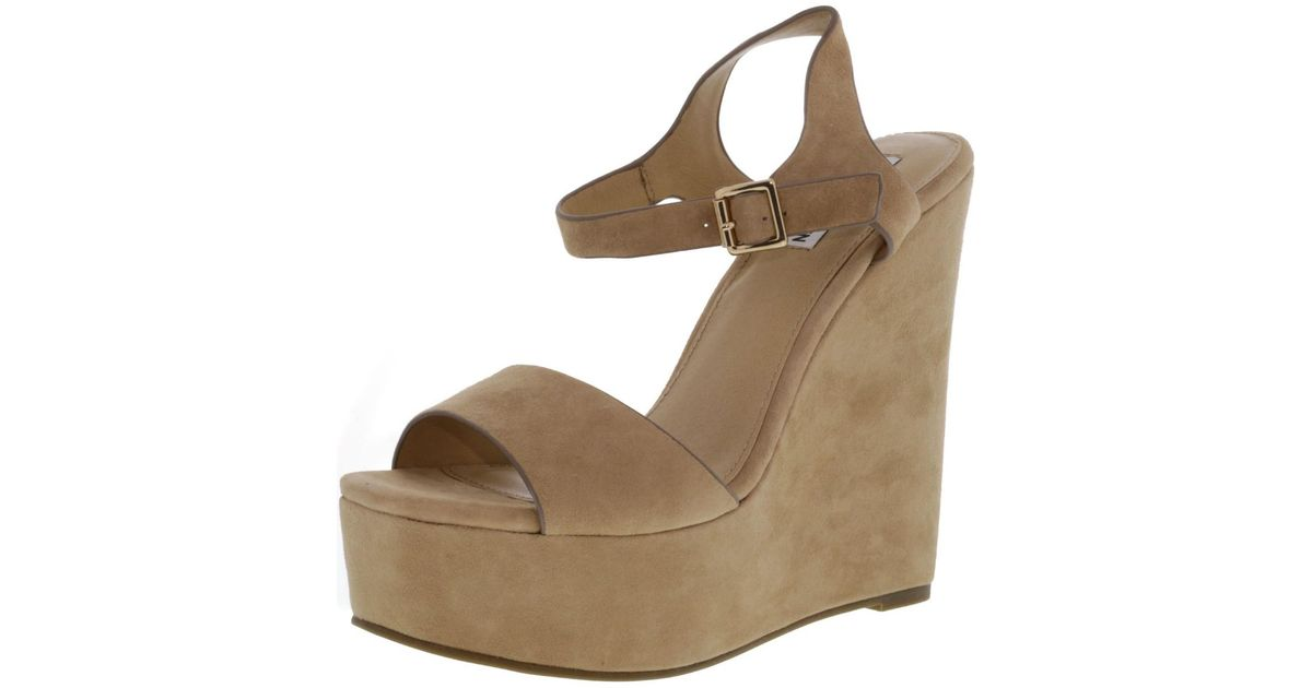 8f4f599dd80 Lyst - Steve Madden Erica Suede Wedged Sandal - 10m in Natural