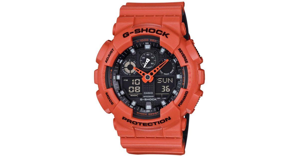 5b187bea29a8 Lyst - G-Shock G-shock Ga100l-4a Black   Orange Resin Analog   Digital  Quartz Watch for Men
