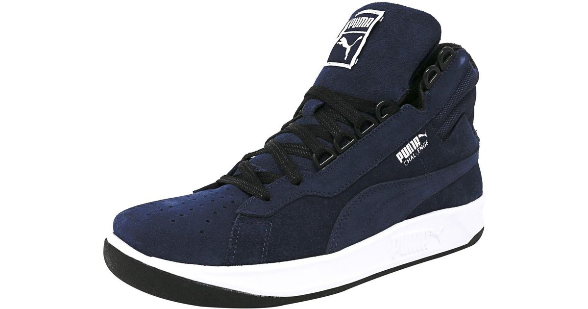 d53330135bed Lyst - Puma Challenge Winter Peacoat   Ankle-high Suede Fashion Sneaker in  Blue for Men