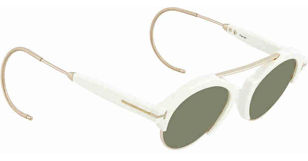 189693c3e8975 Lyst - Tom Ford 2018 Farrah-02 Ft631 Ivory   Green T Logo Round Sunglasses  49mm