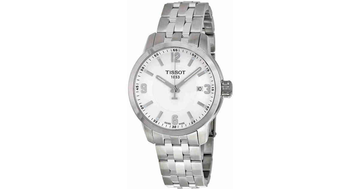 c2407515a56 Lyst - Tissot Prc 200 White Dial Stainless Steel Watch T0554101101700 in  Metallic for Men