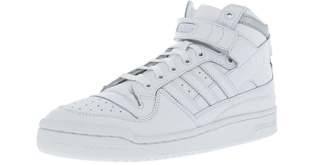 on sale 5c6a8 197ce ... real lyst adidas forum mid refined footwear white silver metallic mid  top leather basketball shoe 11m ...