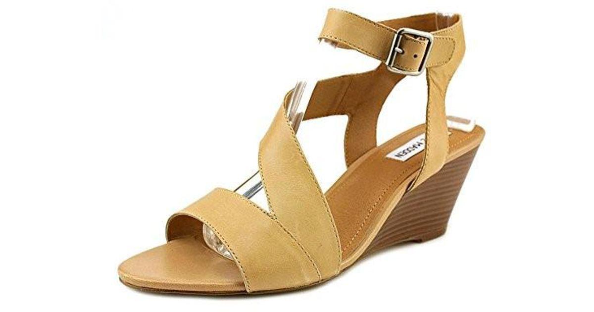 8fbdd819c9f2 Lyst - Steve Madden Stipend Open Toe Leather Wedge Sandal