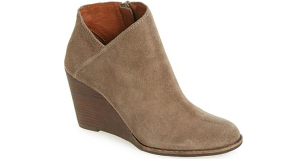 057eaee0ce79 Lyst - Lucky Brand Lucky Lk-yakeena Zip Wedge Bootie Brindle Suede in Brown