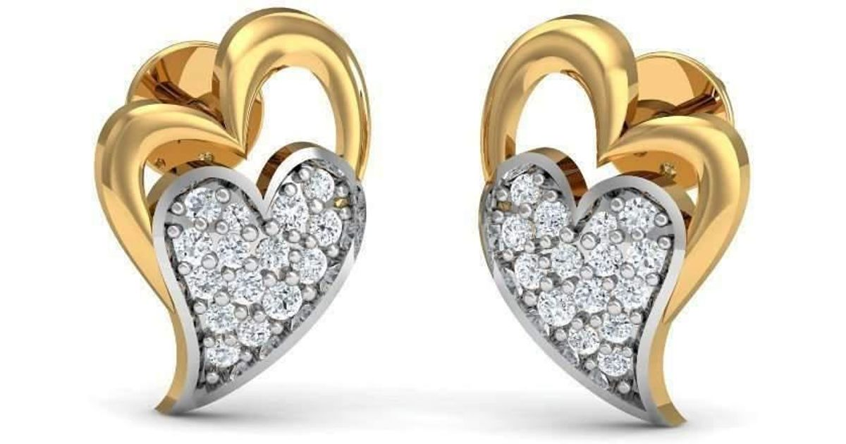 Diamoire Jewels Hand-finished Diamond Pave Earrings in 18Kt Yellow Gold awExeH4H3