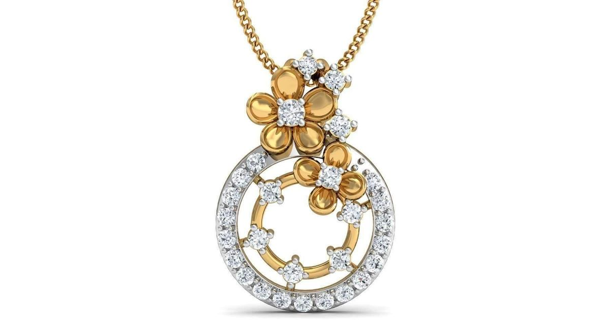 Diamoire Jewels Blue Pear Cut Sapphire and Diamond Pendant in 18kt Yellow Gold q42ZDCiLhk