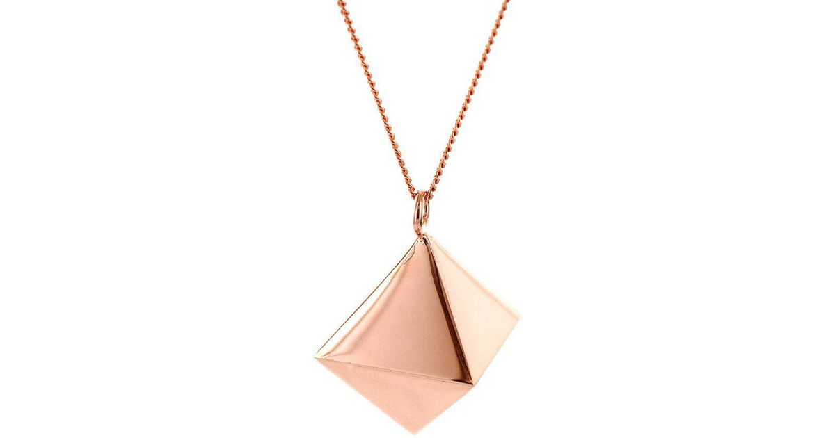 Origami Jewellery Sterling Silver & Pink Gold Mini Octagem Origami Necklace 9R9kiyfgLO