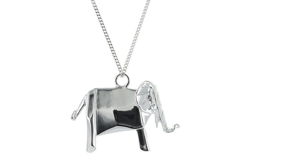 Origami Jewellery Sterling Silver Elephant Necklace 5yd6xoT