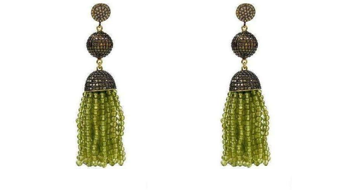 Latelita London Tassel Ball Peridot Oxidized Earrings Buxbv8b