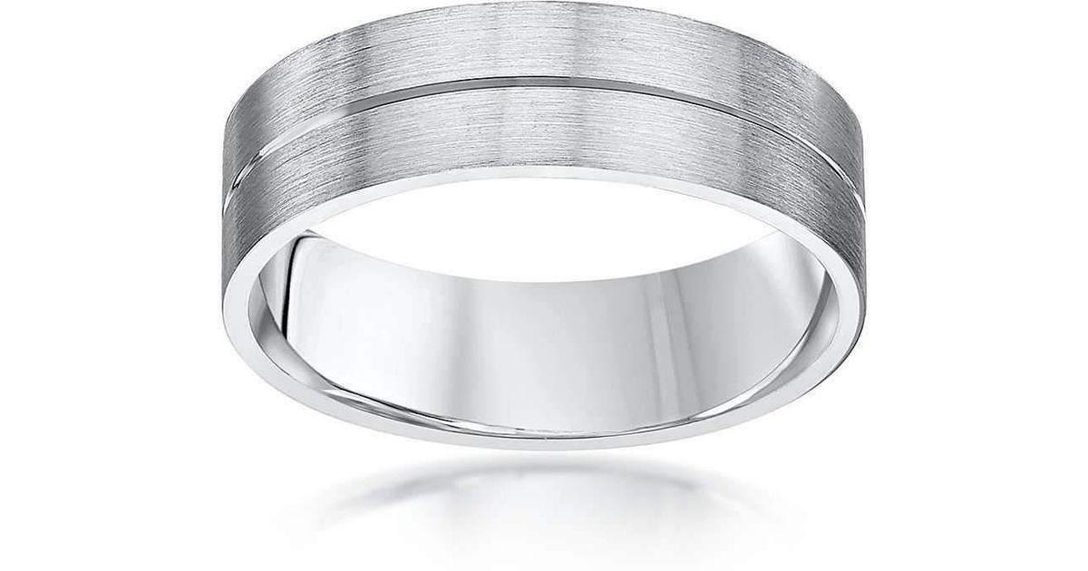 Lyst Star Wedding Rings Palladium Flat Court Shape Matt With
