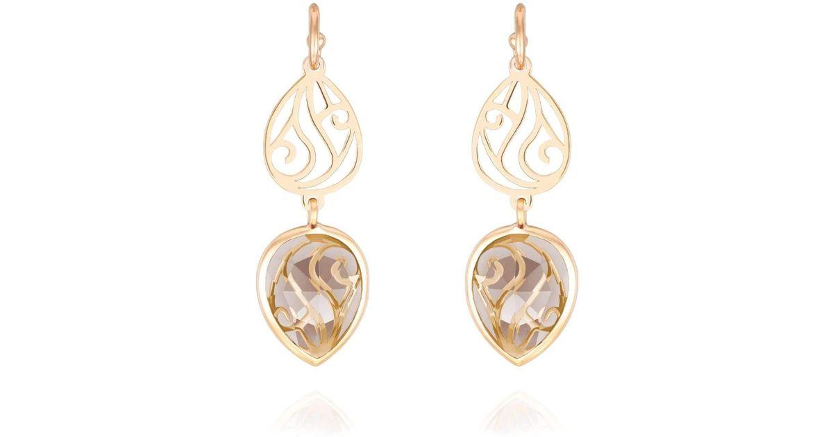 Perle de lune Shanaya Smoky Quartz Drop Earrings HnaW9MPoSq