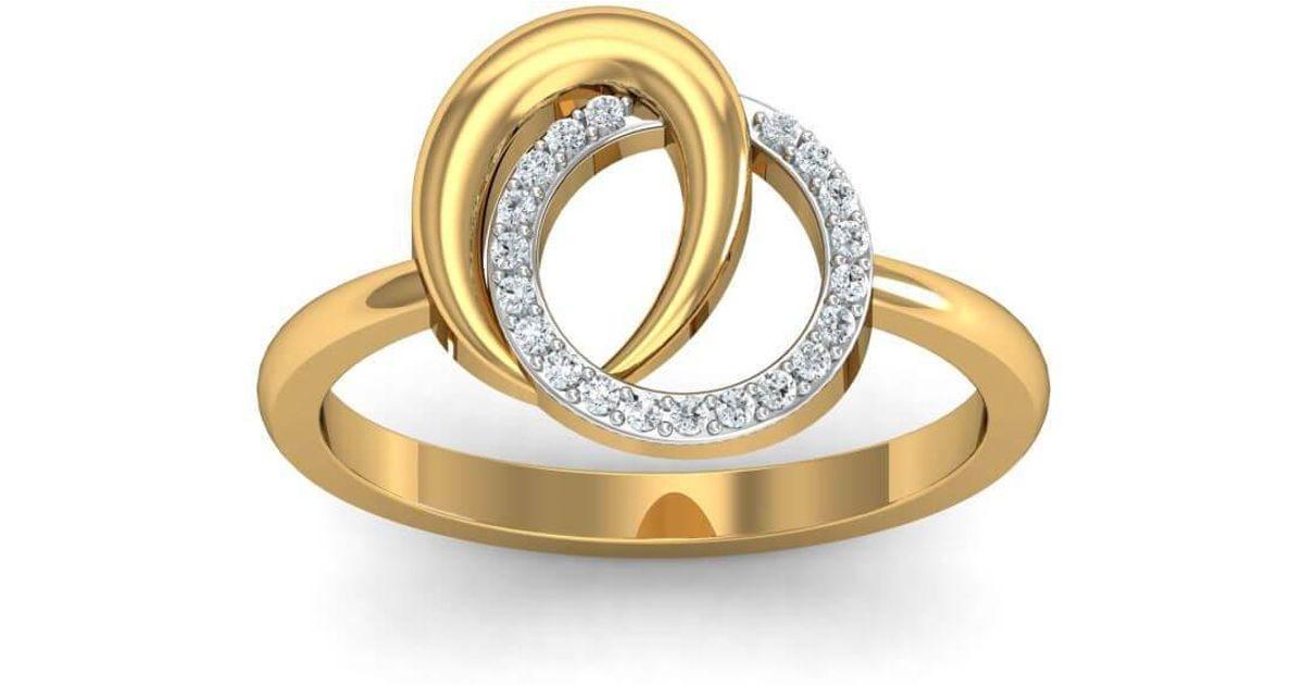 Diamoire Jewels 18kt Yellow Gold Pave 0.10ct Diamond Infinity Ring - UK G 1/4 - US 3 1/2 - EU 45 3/4 pVX6O