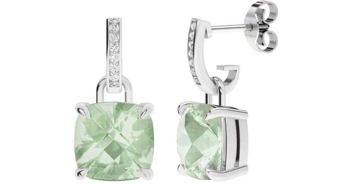 StyleRocks Green Amethyst 9kt White Gold And Diamond Drop Earrings lGl16