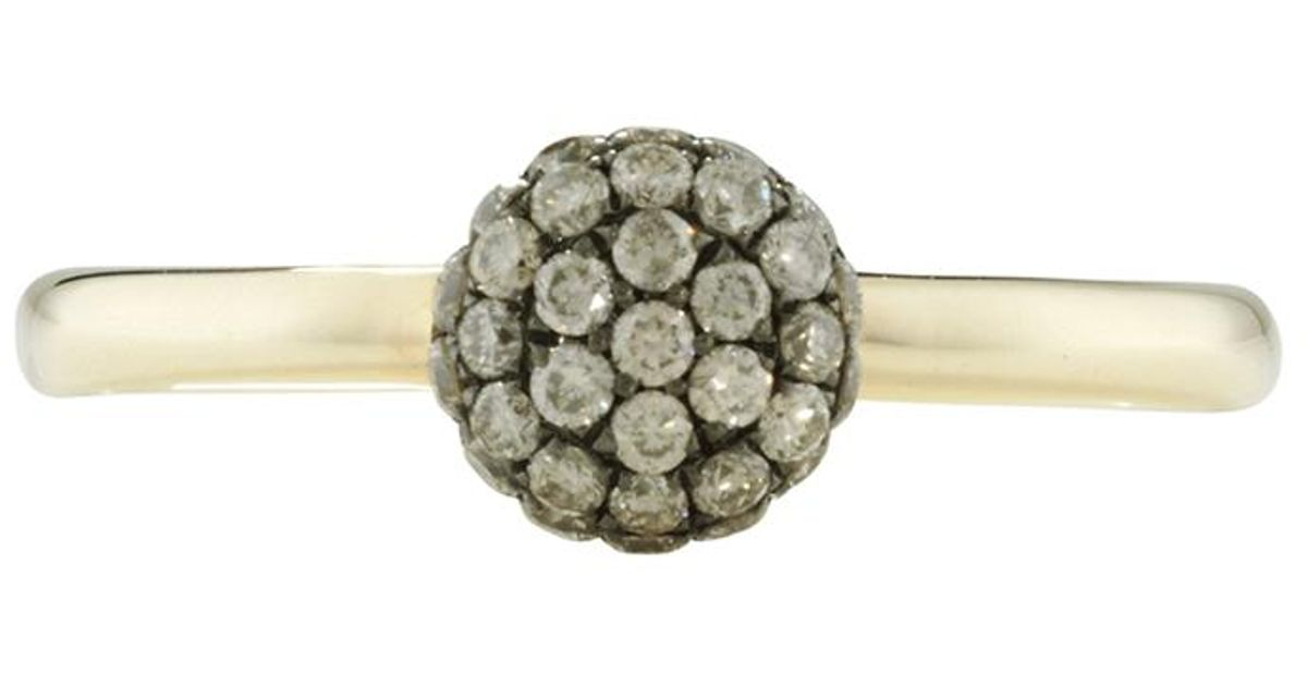 London Road Jewellery Bloomsbury Yellow Gold Cappuccino Diamond Ball Ring RLJTc4