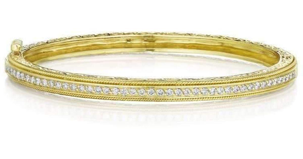 Penny Preville Medium White Gold Diamond Pavé Hinged Bangle um49J8