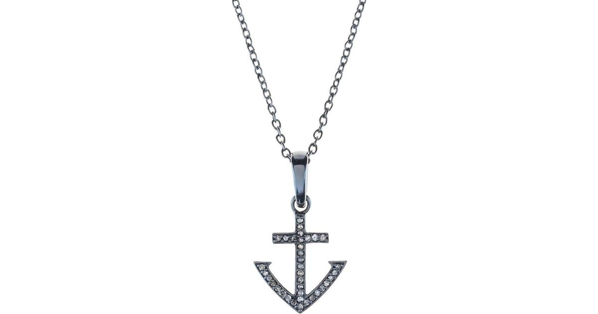 Latelita London Diamond Rose gold Anchor Necklace eDc4Kq5L