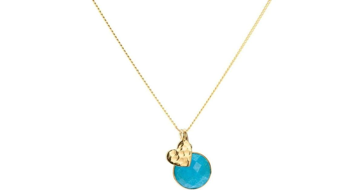 Lyst elizabeth raine heart turquoise throat chakra pendant lyst elizabeth raine heart turquoise throat chakra pendant necklace 24 kt gold in metallic aloadofball Gallery
