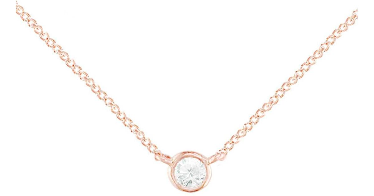 London Road Jewellery Diamond Raindrop Solitaire Rose Gold Pendant Necklace QsIyvTaus