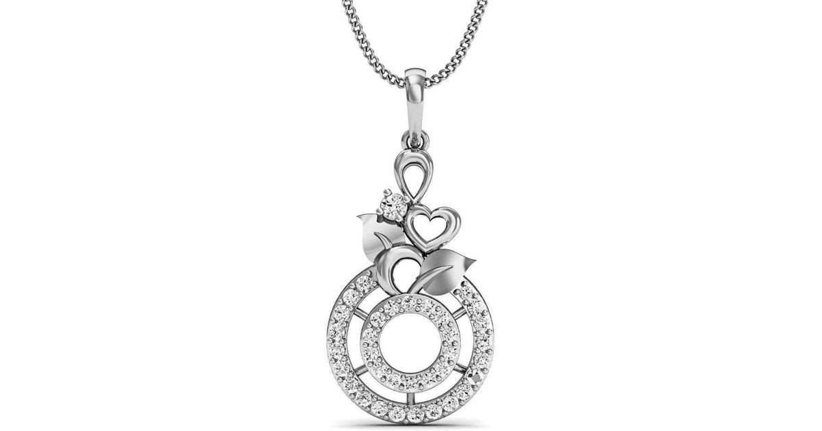 Diamoire Jewels Flowered Diamond Pave Pendant in 18kt White Gold 8if6kO