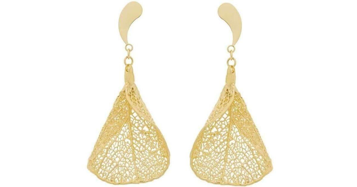 Amazona Secrets 18kt Gold Cabo Verde Leaf Earrings dRvWfTiK