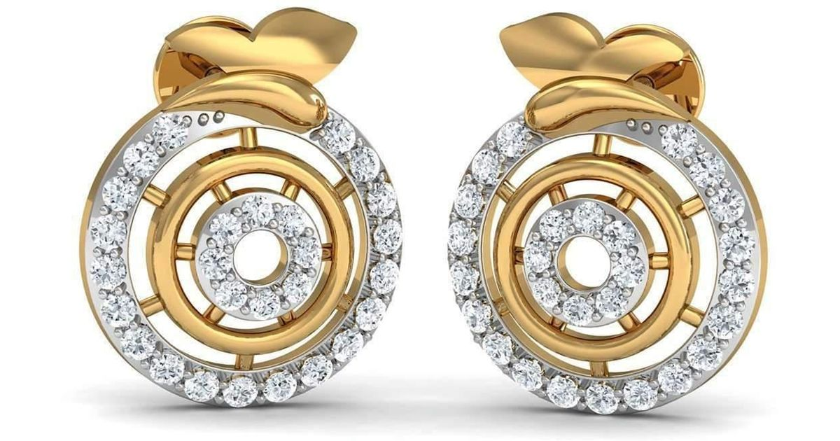 Diamoire Jewels Nature Inspired Hand-carved 18kt Yellow Gold and Diamond Pave Earrings Z3TuBbtg