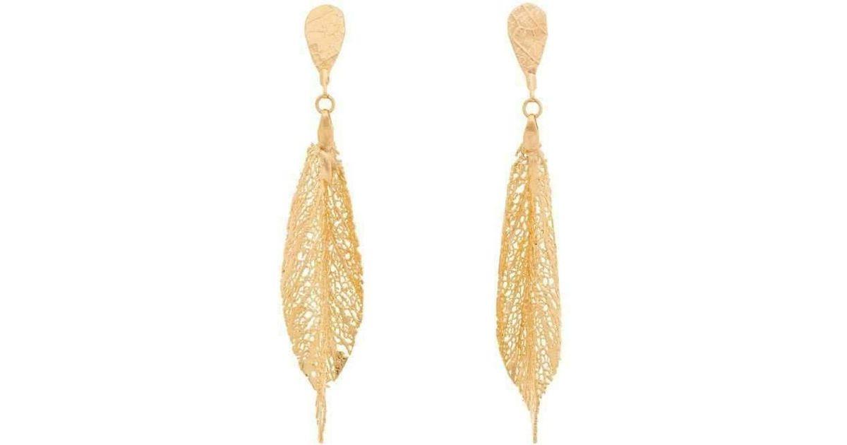 Amazona Secrets 18kt Gold Ox Paw Leaf Earrings uv0tz1ru