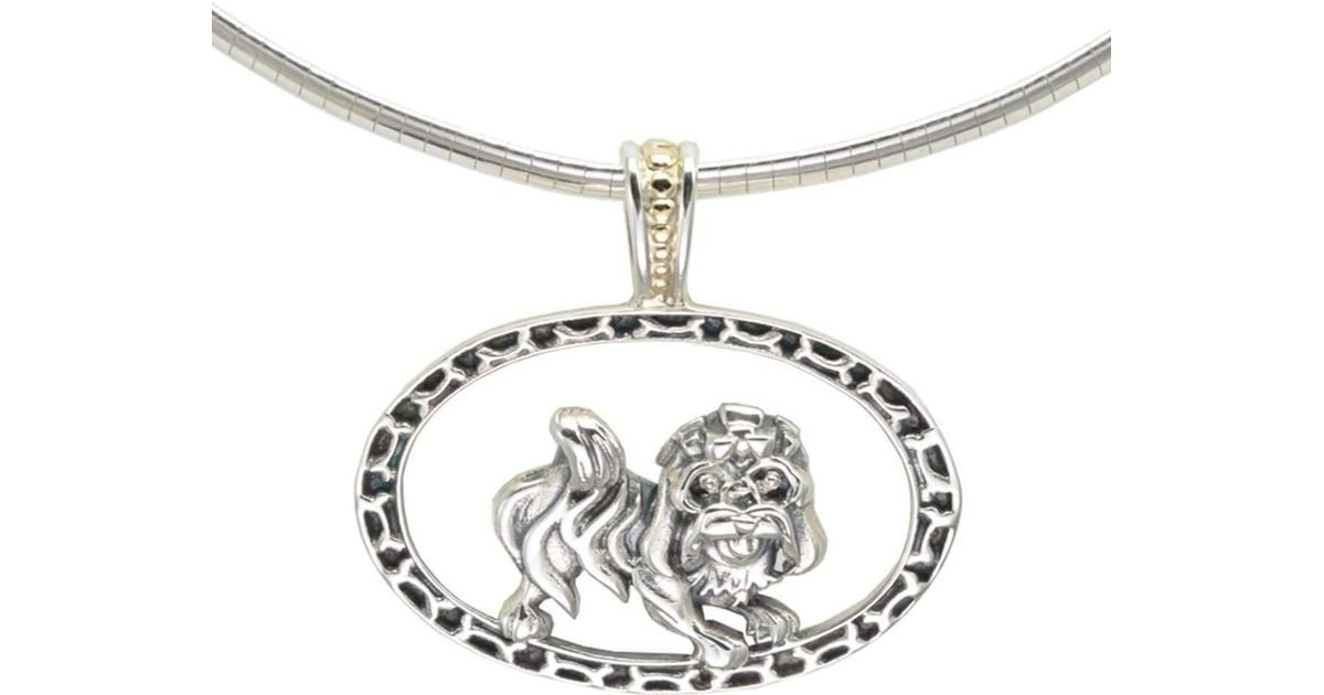 Donna Pizarro Designs Sterling Havanese Necklace With 14kt Accent b7pfe