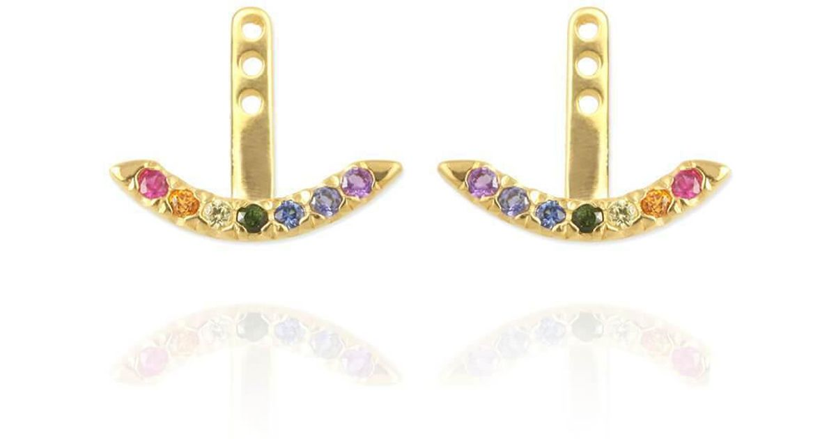 Jana Reinhardt Yellow Gold Plated Rainbow Ear Jackets 3Y3N3o8S