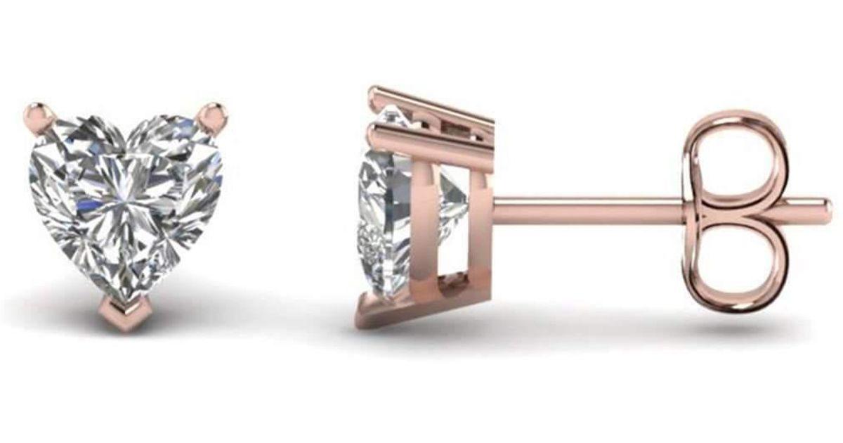 Diamoire Jewels Heart Cut Swarovski Zirconia Stud Earring in 10kt Rose Gold 43qMlW
