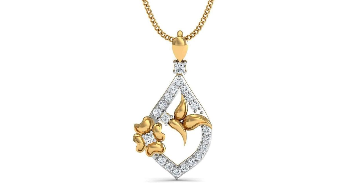Diamoire Jewels Floret Diamond Pendant in 18kt Yellow Gold Yg1hfELBa