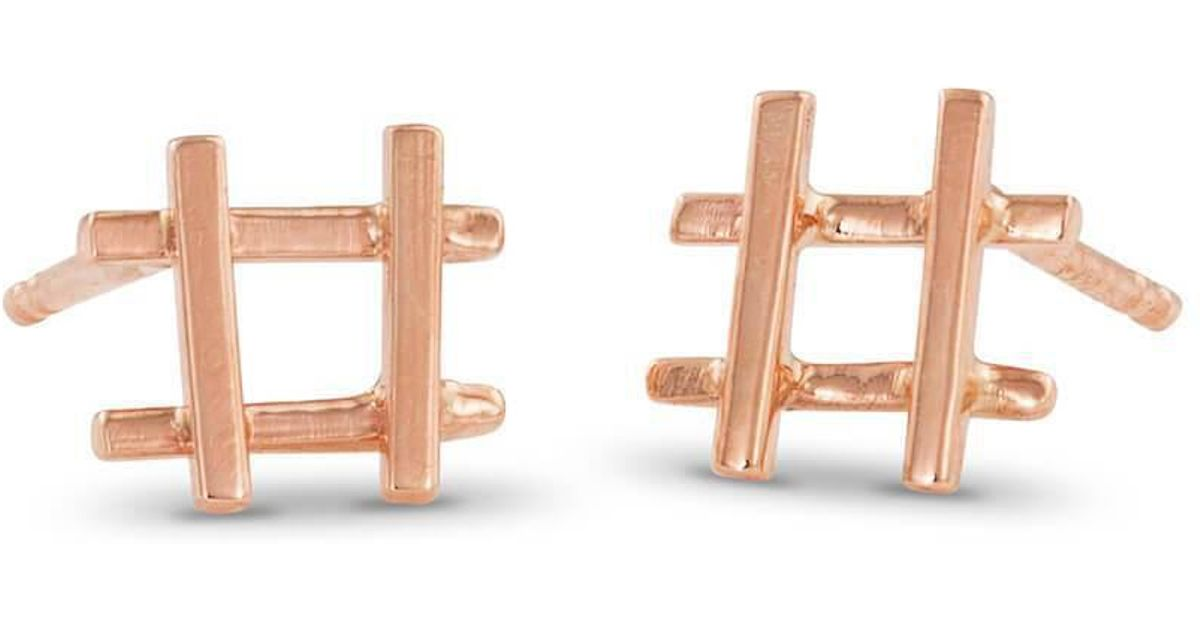 Enji Hashtag Earrings in Rose Gold FCe4iwN
