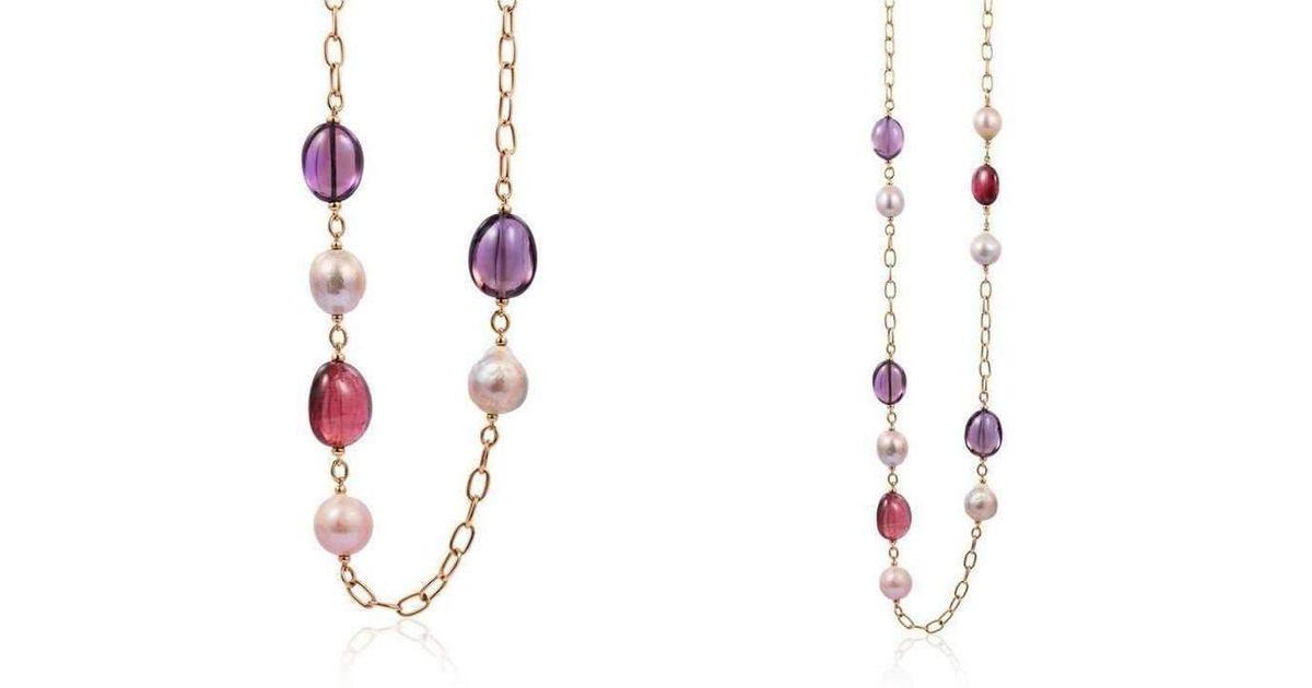 Goshwara Beyond Amethyst, Rubelite & Pearl Necklaces