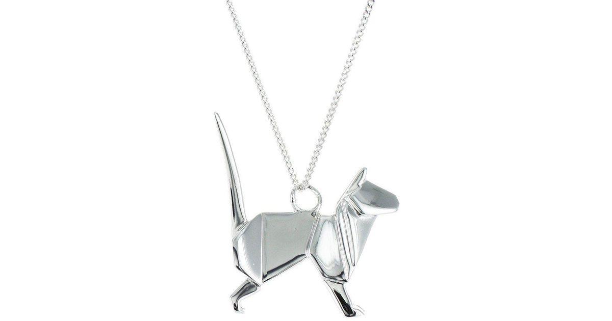 Origami Jewellery Sterling Silver Cat Origami Necklace ArpiMxfMkV