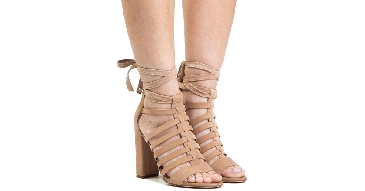 80d46185638548 Lyst - Sam Edelman Yarina Camel Suede Lace Up Sandal in Natural