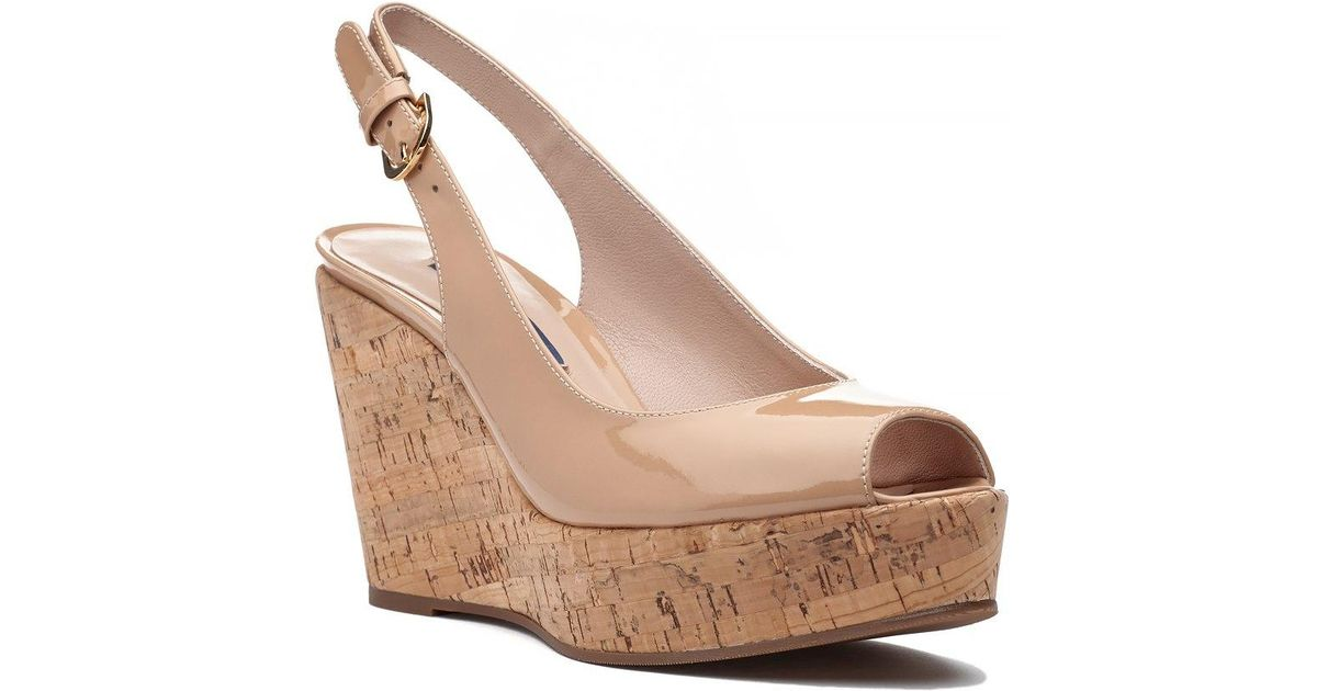 8d5ae98de1c7 Lyst - Stuart Weitzman Jean Wedge Adobe Patent in Natural