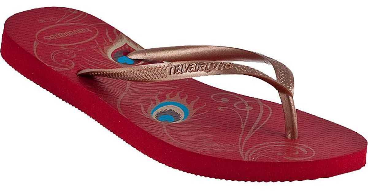083f285274405 Lyst - Havaianas Slim Peacock Flip Flop Red in Red