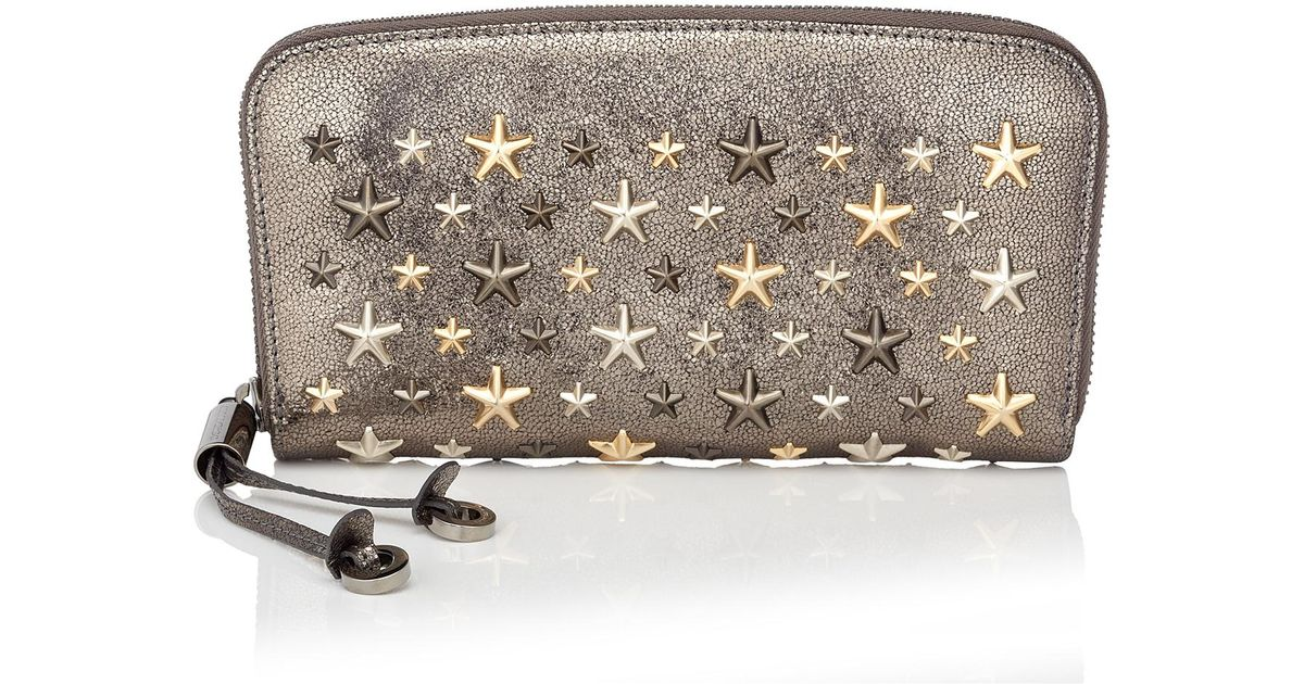 2bd59401c752 Jimmy Choo Filipa Anthracite Glitter Leather Wallet With Metallic Mix Multi  Metal Stars in Metallic - Lyst