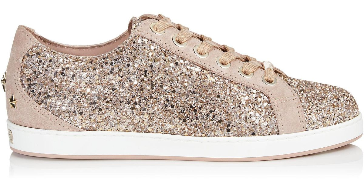 511e66ee5c9b Lyst - Jimmy Choo Cash Glitter Platform Low-top Sneakers in Pink
